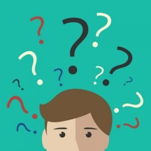 Many multicolor question marks above the head of young man or boy. Making decision, thinking, uncertainty, learning concept. EPS 10 vector illustration, no transparency