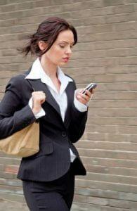 woman checking phone